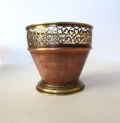 Stunning Small Brass And Copper Pot   Signed 4 by MEMsArtShop