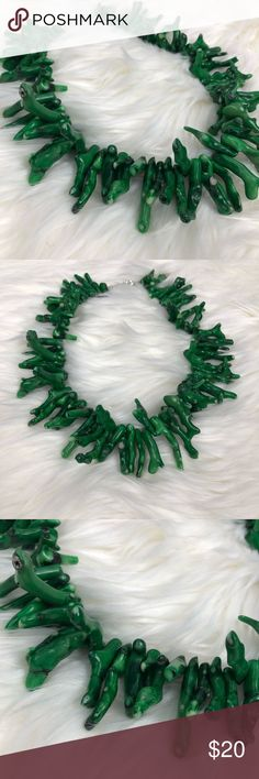 Green Coral Necklace This necklace has some weight to it. Adjustable. #1097 Jewelry Necklaces