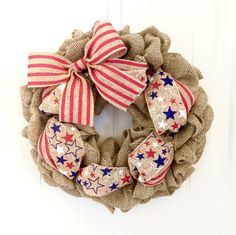 Patriotic Burlap Wreath, 4th of July, Stars and Stripes Wreath, Red White and Blue, Summer Wreath, Memorial Day, Front Door Wreath, America by JennysWreathBoutique on Etsy https://www.etsy.com/listing/273523318/patriotic-burlap-wreath-4th-of-july