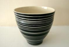 Whirlagig B - Stripy Black and White Ceramic Vessel,LeiliDesign