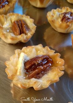 Brie tarts made with mini phyllo cups filled with blackberry jelly or salted pecan and honey.