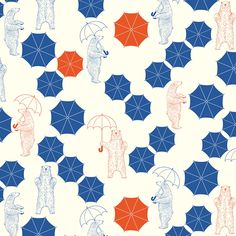 【Bear in the rain】Orie's animal textile design. #くま #bear #動物 #イラスト #テキスタイルデザイン #textile #design #柄 #デザイン Textile Patterns, Textile Design, Textiles, Quilts, Blanket, Animals, Animales, Animaux, Quilt Sets