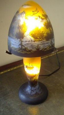 A STUNNING ANTIQUE & E.GALLE STYLE THICK GLASS MUSHROOM TABLE LAMP - on eBay!