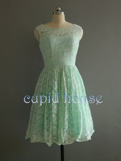 Short Mint Lace Bridesmaid Dress/White Ivory Pink by CupidHouse