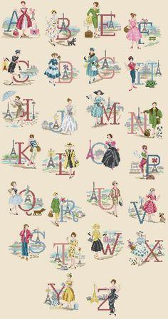 A Parisian Alphabet cross stitch chart Cross Stitch Letters, Cross Stitch Love, Cross Stitch Samplers, Cross Stitch Flowers, Cross Stitch Charts, Cross Stitch Designs, Cross Stitching, Cross Stitch Embroidery, Embroidery Patterns