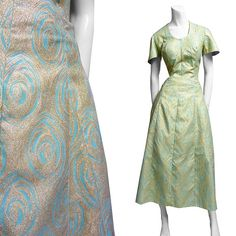 50s lurex dress evening gown gold & blue roses prom elegant