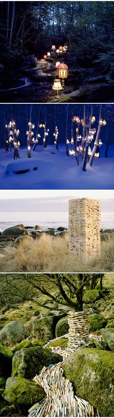 These beautiful installations are assembled and then photographed by Norwegian artist Rune Guneriussen. Since 2005, he's been creating these engaging narratives using man-made objects {like tables, chairs, telephones, globes, and of course, lamps & books} placed into the natural landscape of Norway.