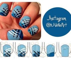 Tutorial of Blue nails with multi colored strips