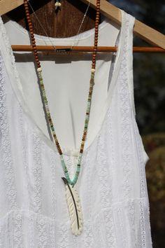 OOAK Peruvian Opals and Diamond Bone Feather by HappyGoLuckyJewels, $379.00