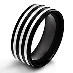 West Coast Jewelry Crucible Plated Stainless Steel Triple Flat Ring, Men's