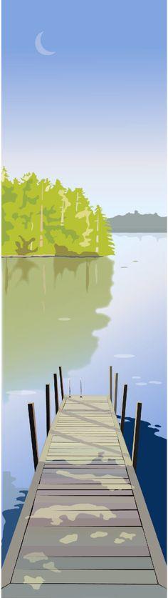Lake Dock Summer print.jpg (502×1782) Marian Federspiel MEREDITH NH
