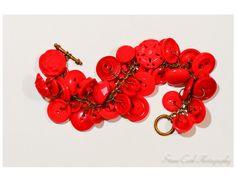 Red button charm bracelet vintage antique by FriendlyWrenJewelry, $15.00