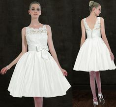 Love this classic look - Wedding Dresses Under $250    This knee-length frock, $138 on Etsy from designer Susiewear, pays homage to style icon Audrey Hepburn and is perfect for the fashion-conscious bride. A daring gal could rock this at the ceremony, but its flouncy skirt makes it an appropriate reception-only dress or for a blessing or vow renewal!