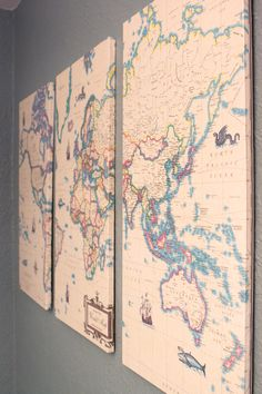 Map Art... I would do that with little flag on places I visit and another color pin for those who are missionaries I know.