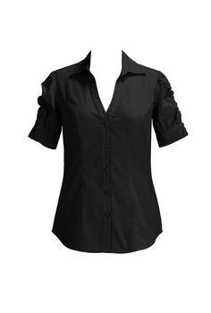 eShakti Women's Ruched sleeve cotton poplin shirt XS-0 Regular Black
