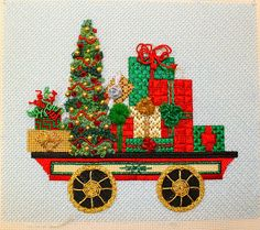 Split the Needles, needlepoint Christmas train car with packages