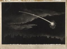 Wood engraving of a comet in the night sky (c. Art Print by Ninboy Prints - X-Small Constellations, Sky C, Astronomy Pictures, Wellcome Collection, A Silent Voice, Dark Skies, West London, Wood Engraving, Night Skies