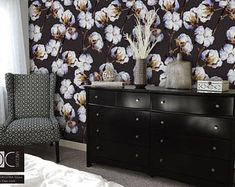 fresh white-blue flowers on black wall    Peel and stick wallpaper    self-adhesive removable, repositionable wall murals #46
