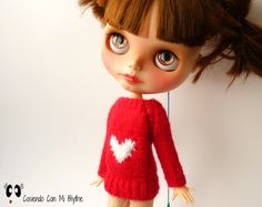 Sweater with heart for Blythe doll