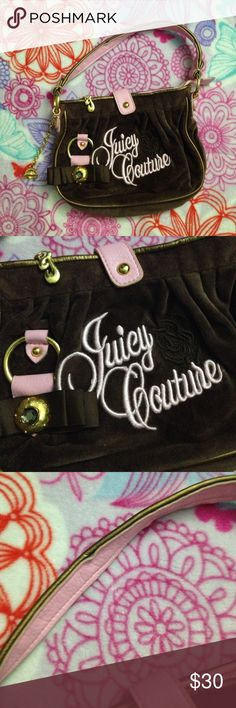 Juicy Couture Mini Bag Brown velvet like fabric with pink accents, handle and embroidery. Gold bangles and buckles. Magnetic snap closure and Zipper. Inside is clean with one zipper pocket and a cell phone pocket. Strap is a little dirty and shows wear. Stitching on the front isn't perfect. Bottom is clean. Juicy Couture Bags Mini Bags