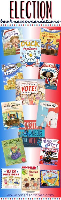 20 Books to read with your students during the US Presidential Elections or around President's Day. Election books for students to learn about the election process, our past Presidents, and so much more. Only at Mrs. D's Corner.