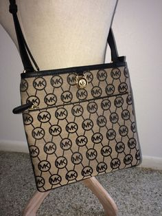 1ae7df153648 Michael Kors Kempton MK Signature Large Pocket Crossbody Bag Beige Black  NWOT $70.0