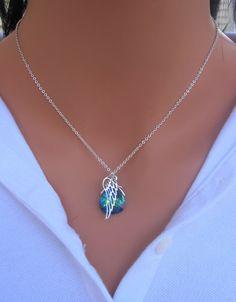 Angel Wing with Peacock Swarovski Crystal por RoyalGoldGifts