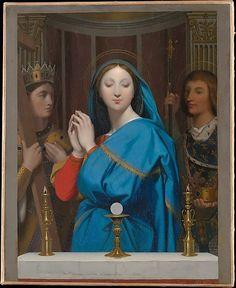 Bellisima pintura de la Virgen María adorando la Sagrada forma, del pintor Ernest Meissonier