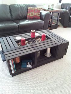 Our Version Of The Crate Coffee Table We Used 6 Crates Instead 4 And