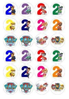 24 X Números De Aniversário Patrulha Canina Comestível Cupcake Toppers Pre-Cut
