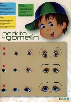 Ideas and examples of painting doll faces.or cartoon eyes One Stroke Painting, Doll Painting, Painting & Drawing, Doll Eyes, Doll Face, Cartoon Eyes, Clay Pots, Painting Patterns, Doll Patterns