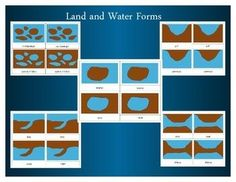 Montessori Land and Water Forms: Three Part Cards Montessori Materials, Archipelago, Science Experiments, Geography, Booklet, Landing, Card Stock, Definitions, Lakes