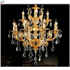 Modern Luxury 12 Arms Crystal Chandelier Lamp Gold Suspension Lustre Crystal Light for Foyer Lobby Chandelier Lamp, Chandeliers, Dining Room Lighting, Modern Luxury, Ceiling Lights, Contemporary, Crystals, Foyer, Gold