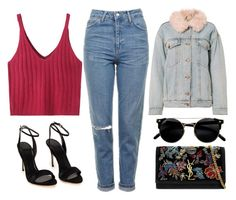"""""""go denim"""" by redapplecigarettes ❤ liked on Polyvore featuring WithChic, Topshop, Polo Ralph Lauren, Yves Saint Laurent, Alexander Wang and denimjackets"""