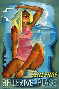 Belerive Beach Lausanne  1938 Vintage Travel Poster