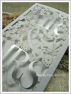 100 sets Silver Mr&Mrs Wedding laser cut invitations free envelope sticker cards