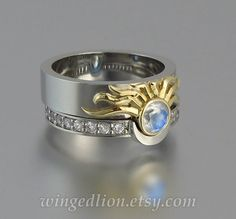 Sun And Moon Eclipse Engagement Wedding Ring Set In Silver 18k Gold With Moonstone