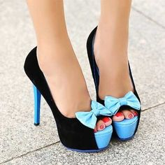 Women's Suede Fish Mouth Bowknot High Stiletto Shoes