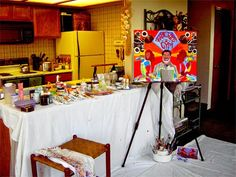 My Art Notes: Studio Set Up on Vacation in Pinetop Arizona 2007