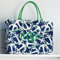 Daytripper Tote Navy Anchors | Fashion | Mud Pie