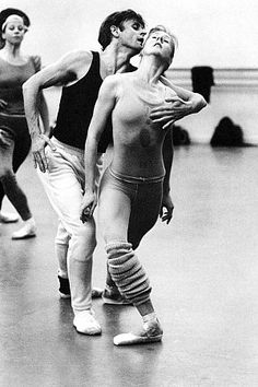 """'Mikhail Baryshnikov and Kathleen Moore Rehearsing for the Premiere of  Mark Morris's """"Drink to Me Only with Thine Eyes"""", Eve Arnold."""