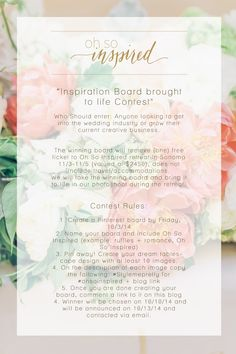 GIVEAWAY for Oh So Inspired Retreat | Read More: http://www.stylemepretty.com/california-weddings/2014/09/22/oh-so-inspired-workshop-retreat/