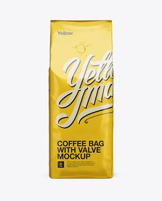 Foil Coffee Bag With Valve Mockup - Half-Turned View. Preview