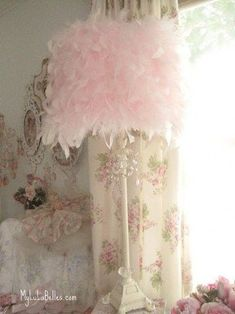 Fluffy Pink Feather Custom Lamp Shade