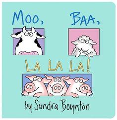 "Moo Baa La La La by Sandra Boynton. Could be a nice book before teaching the song ""Old McDonald had a Farm""."