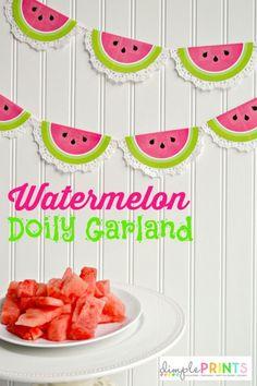 DimplePrints Watermelon Doily Garland Free Printable on iheartnaptime.com
