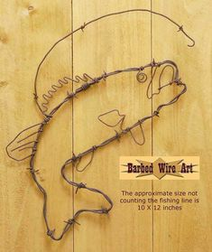 Bass Fish - Handmade metal decor barbed wire art country western wall sculpture