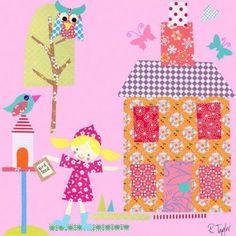 Oopsy Daisy - Little Houses - Purple Roof Canvas Wall Art 10x10, Rachel Taylor