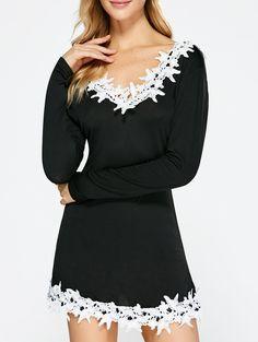 Lace Insert Backless Dress. 15 DressesSleeve DressesFall ... 7d78f48092d2