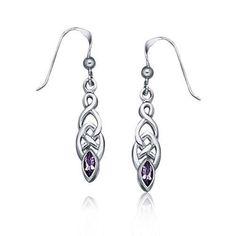 Bling Jewelry Genuine Amethyst Celtic Knotwork Drop Earrings 925 Sterling Silver
